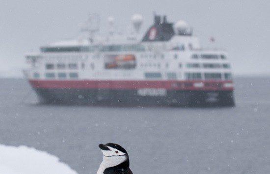 Crucero de pasajeros pasando por Isla Media Luna en Shetland del Sur