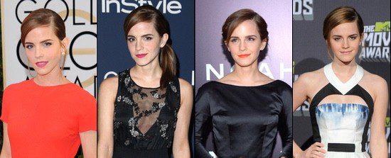 Emma Watson luce muy a menudo recogidos con raya al lado