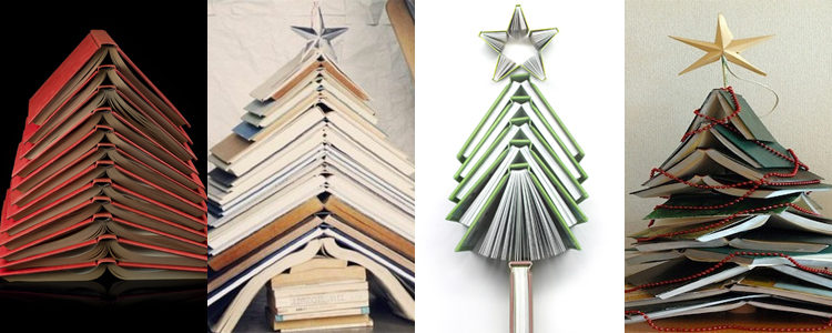 Árbol 2: Libros apilados abiertos y superpuestos de forma regular o desordenada