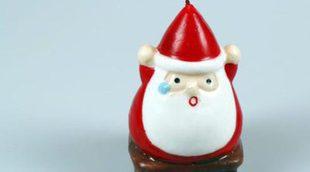Decoración navideña con velas: angelitos y Papá Noel