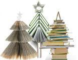 Una decoraci�n diferente: Un �rbol de Navidad hecho con libros