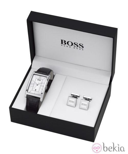 Reloj de caballero con correa de piel y gemelos de Boss Watches