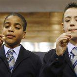 Niños de San Ildefonso durante el sorteo de la Lotería de Navidad