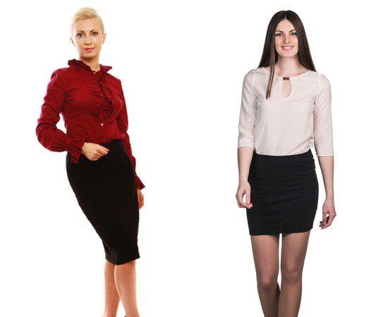 La falda negra combinada con una blusa es una apuesta segura