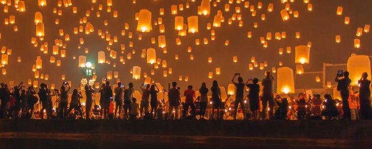 El Festival de Farolillos es común en Tailandia