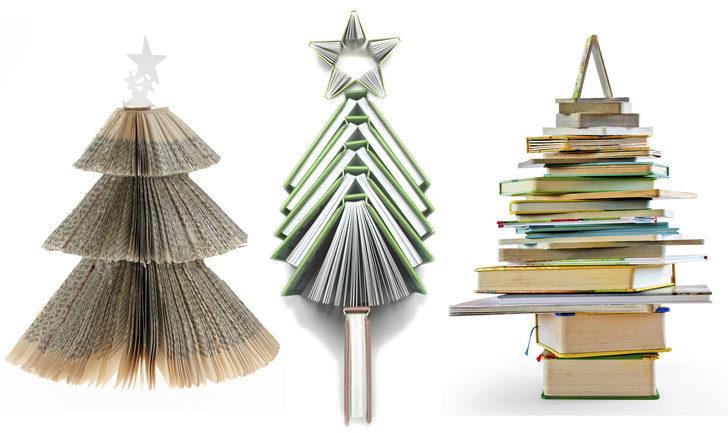 Una decoración diferente: Un árbol de Navidad hecho con libros