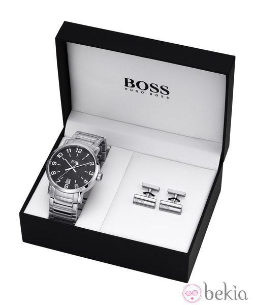 Reloj de acero de hombre y gemelos de Boss Watches