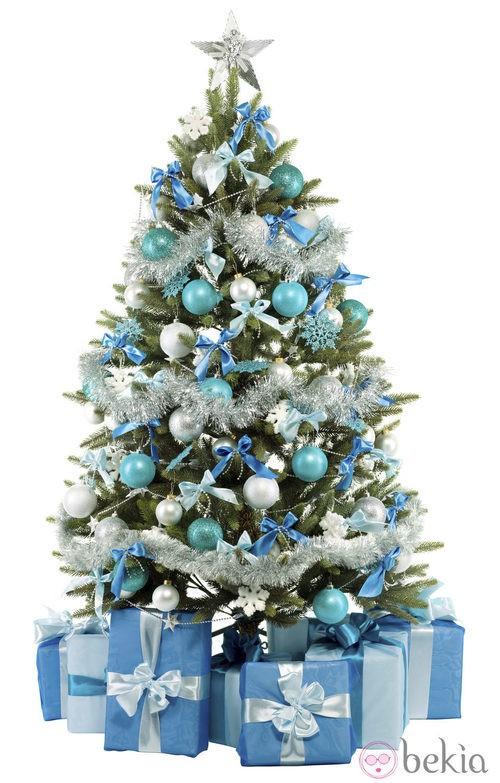 rbol de navidad azul y plata - Arbol De Navidad