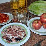 Ingredientes necesarios para hacer ensalada de pulpo y manzana