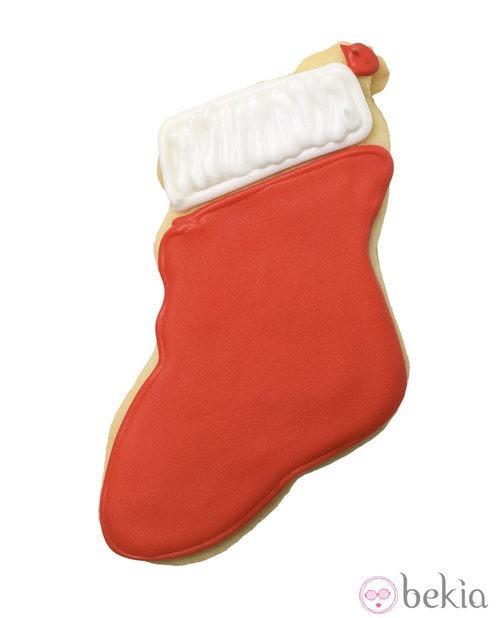 Galleta de mantequilla convertida en una bota de Papá Noel