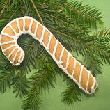 Galleta de mantequilla convertida en un bastón de Navidad