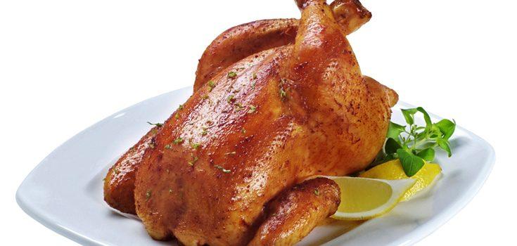 Pollo entero asado con miel y mostaza