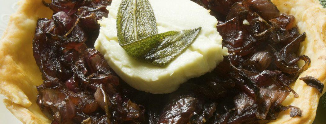 Entrantes de Navidad: Tartaleta de queso de cabra con cebolla caramelizada